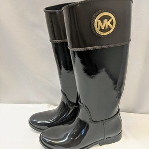 Michael Kors Black/Brown Tall Rain Boots NWOT